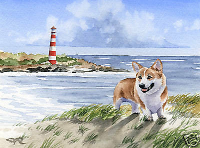 WELSH CORGI BEACH Dog Watercolor LARGE ART Print DJR