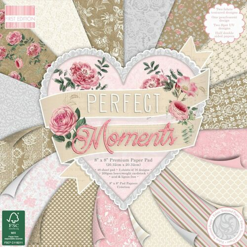 "8/"" x 8/"" 48 Sheet Full Pad PERFECT MOMENTS Card Making Scrapbook Craft Paper"