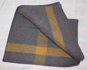 "Vintage Style Wool Cabin Woodsman Grey Yellow Blanket 60"" X 80"" Large Heavy NEW"