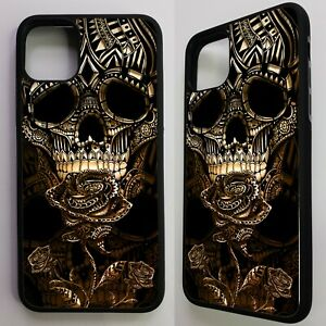 Gold-skull-rose-tattoo-day-of-the-dead-flower-graphic-case-cover-for-iphone-11