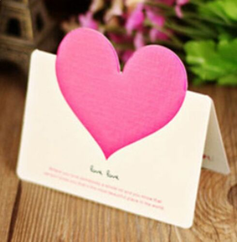 10Pcs Christmas Birthday Cards Message Card Envelope Heart-shaped Greeting