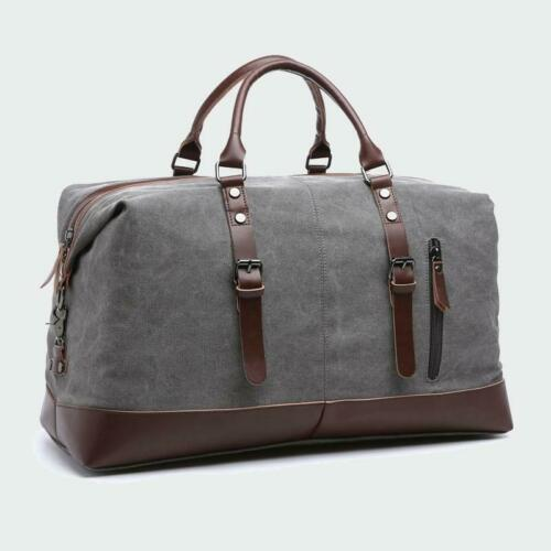 Canvas Leather Men/'s Bags Travel Luggage Bag Duffel Tote Large Weekend Bag Overn