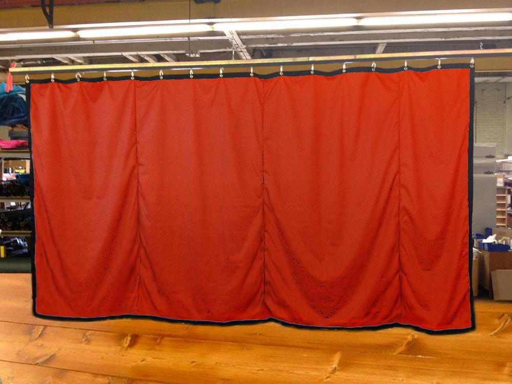 Mandarin Orange Curtain Stage Backdrop Partition, Non-FR, 9 H x 15 W