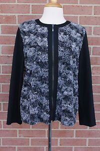 Women-039-s-Alfred-Dunner-Faux-Fur-Jacket-Black-Gray-Size-Petite-14