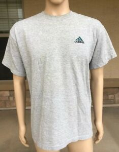 fa61ddb14 Vintage 90s Adidas Solid Blank Gray T Shirt USA Made Size Medium | eBay