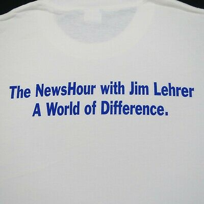 VINTAGE 1990/'s T SHIRT THE NEWSHOUR WITH JIM LEHRER PBS L NEW NO TAGS