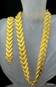 Vintage-Jewelry-Set-Gold-Tone-Collar-Necklace-amp-Bracelet-Vintage-Bridal-Jewelry