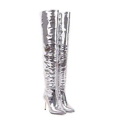 Schick Damen Overknie Stiefel Freiheit Lackleder Gelänzend Schuhe High Heels