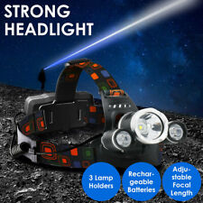 Rechargeable Head Torch Headlamp Light Lamp 12000LM 3 x XML CREE T6 LED Zoom UK
