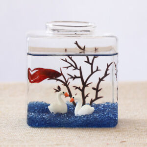 Image Is Loading Small Square Aquarium Ecological Office Desk Fish Tank