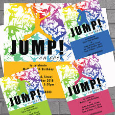 12 personalised trampoline jump bounce birthday party invitation