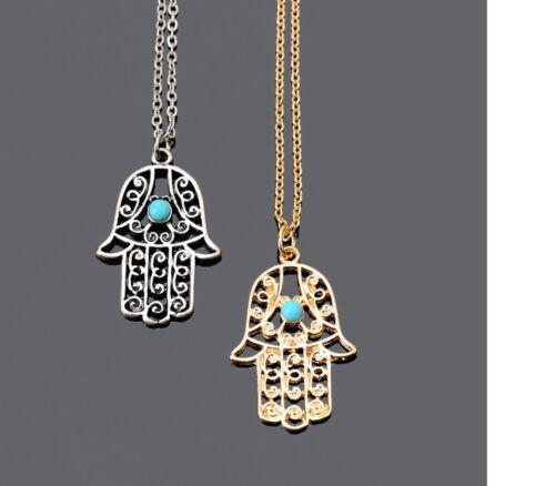 Para MUJERES Oro Plata Suerte Hamsa Fatima Mano Colgante Collar Joyería Regalo UK