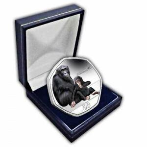 Schimpanse 2018 50p Cupro Nickel Farbig Münze IN Etui