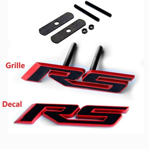 2x OEM Grille+Decal RS Emblem Badge 3D front For Camaro Chevy series Red line Yu