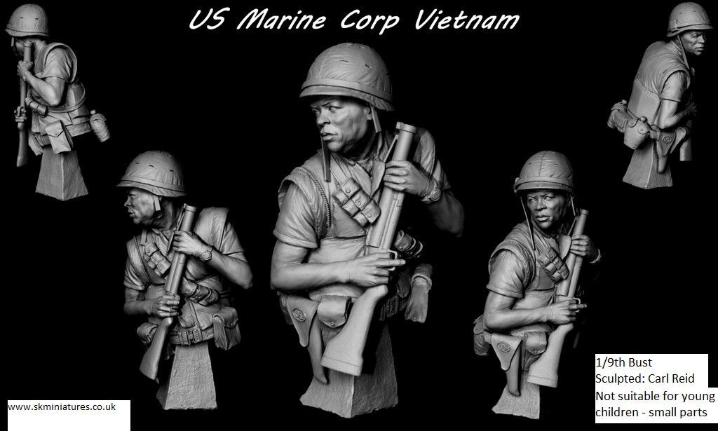 SK Miniatyr USMC US Marine med Bloomer Vietnam 1  9th Obelastad kit bilL REID