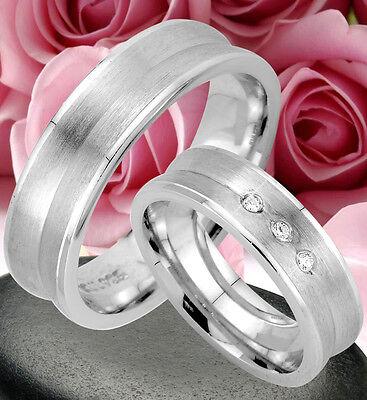 2 Ringe Trauringe Eheringe Dr Mit 3 Steine , Silber 925 , Gravur Gratis , Jk21-3