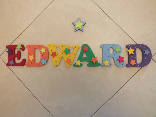 """4.5/"""" Decorated Boys Wooden Capital Letters Door//Wall sign Free Star"""