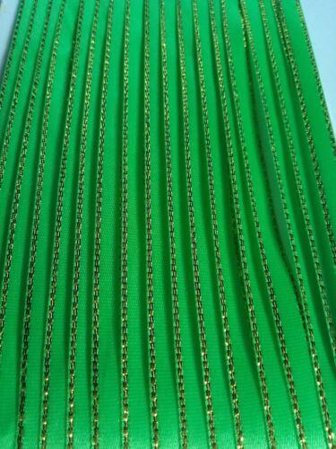 5 M 6 mm green gold edged Ruban Satin Garniture Fabrication Carte Scrapbooking Craft Art
