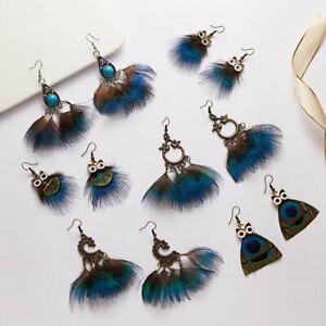 Boho-Long-Tassel-Earrings-Drop-Dangle-Owl-Feather-Wedding-Bridal-Women-Jewelry