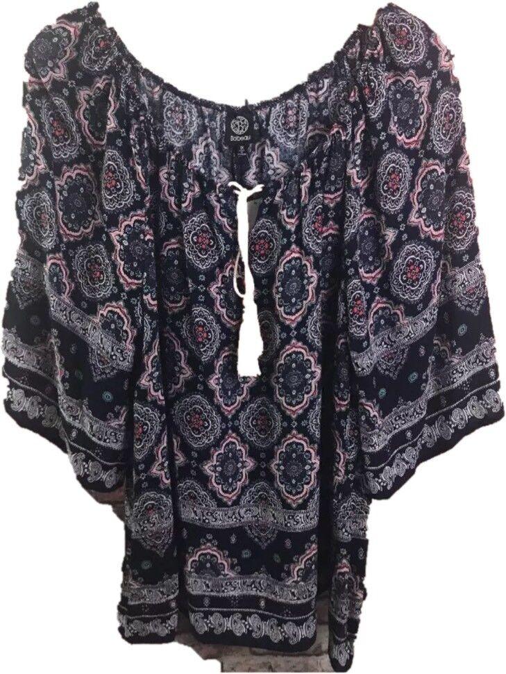Bobeau Women's Plus Size 1X Peasant Tassel Paisley Blouse Top Shirt  Floral bluee