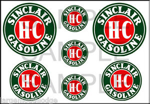 VINTAGE STYLE 1 3/4 AND 1/2 INCH SINCLAIR HC GASOLINE GAS OIL DECAL STICKER