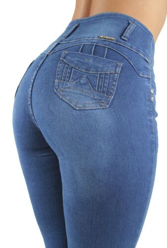 Skinny Jeans Butt Lift Mid Waist Push Up Women/'s Juniors Colombian Design