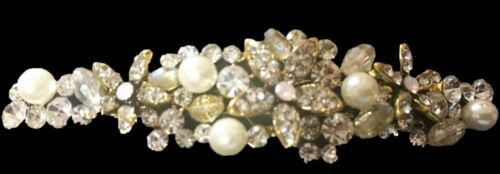 "New  Antique Gold Clear Crystal,Opal /& Rhinestone Floral 3 1//2/""/' Hair Barrette"