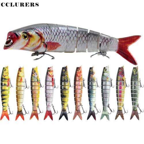 Fishing Lure 8-Segments Fish Bass Minnow Swimbait Tackle Hook Lure Crank Bait