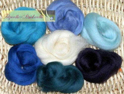 Märchenwolle Filzwolle Blautöne 300-500-1000g Filzwolle filzen