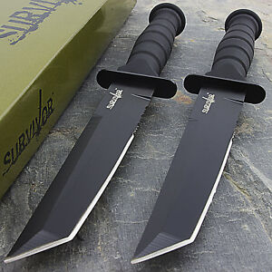 "2 x 7.5"" MILITARY TACTICAL TANTO COMBAT KNIFE w/ SHEATH Survival Hunting"