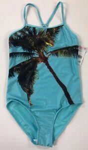 10fc546a1b Joe Boxer Girls 1-Piece Swim Suit Size 12 Turquoise Palm Tree NWT | eBay