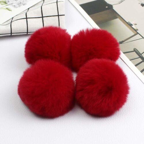 5-10cm 4PCS DIY Fluffy Pom Pom Rex Rabbit Fur Ball for Bag Shoes Keychain Hats