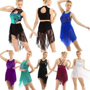 Women-Girl-Lyrical-Dress-Mesh-Ballet-Leotard-Shiny-Sequins-Modern-Dance-Costume