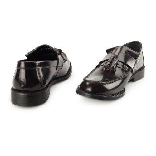 Roamers rudeboyz hi-shine pour homme en cuir confortables poli tassel loafers Oxblood Rouge