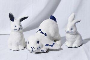 Vtg-Dedham-Pottery-The-Potting-Shed-Bunnies-Crackle-Glaze-Rabbit-Family-Lot-of-3