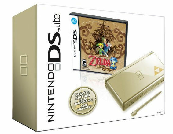 nintendo ds lite legend of zelda phantom hourglass gold handheld system ebay. Black Bedroom Furniture Sets. Home Design Ideas