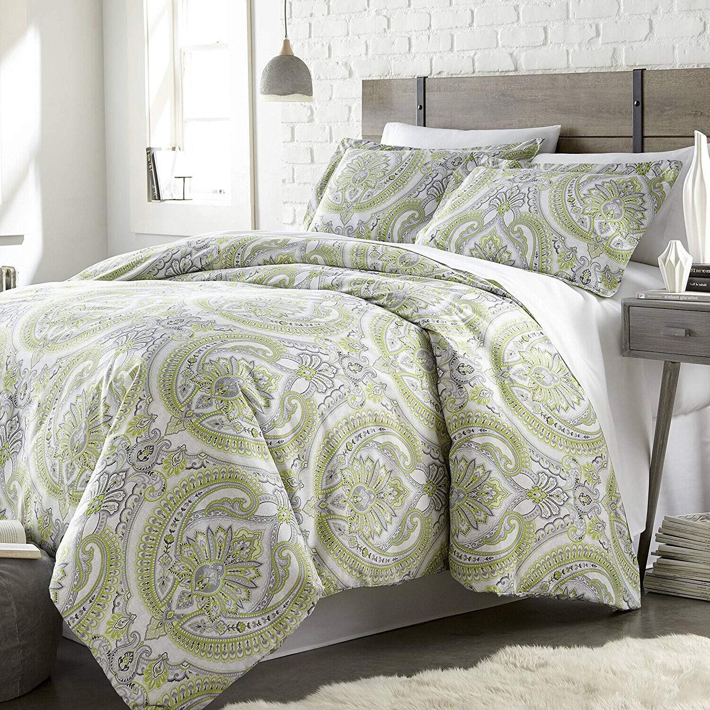 Elegant Aqua Grün Paisley Reversible Down Alt 3 pc Cal King Queen Comforter New