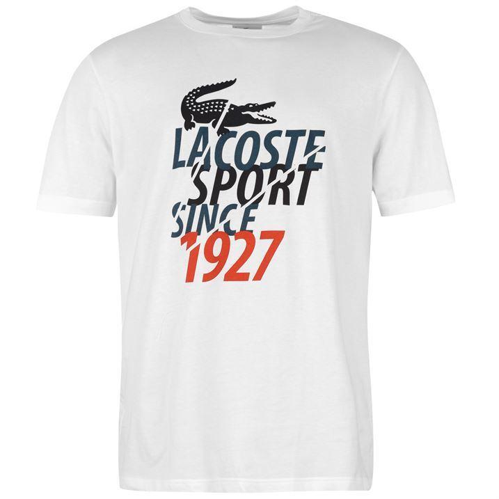 Lacoste Sport White Croc Text T-Shirt Size 6 Large