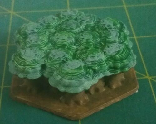 Lot of 3 3D Printed Forest on Hex bases.  Unpainted.