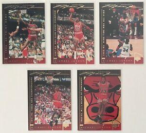 1994-Upper-Deck-Basketball-Heroes-38-39-41-43-44-Michael-Jordan-Cards-Lot-of-5