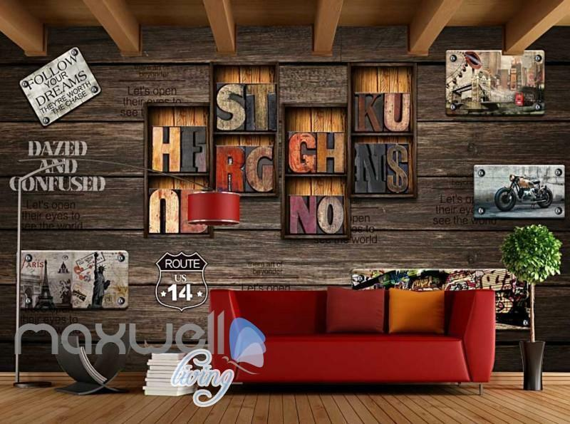 Old Style World Wood Wall Collection Art Wall Murals Wallpaper Decals Prints Dec