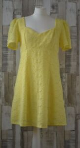 Miss-Selfridge-Yellow-Lace-Off-The-Shoulder-Dress-Vintage-Boho-Style-Size-14