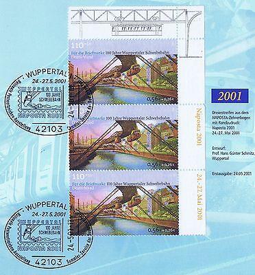 EntrüCkung Brd 2001: Drei Schwebebahnmarken Nr. 2171 Mit Sonderstempeln Wuppertal! 1a! 1802