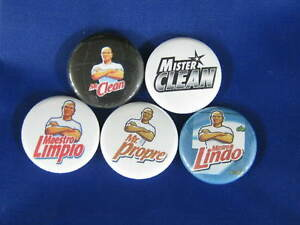 MR CLEAN POWER 5 PINS NEW SET #2 Pinbacks Buttons LZ