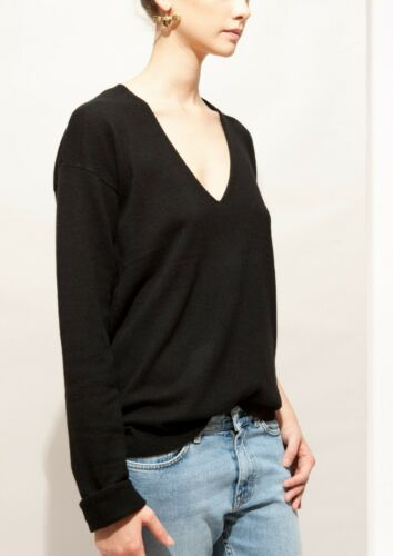 NWT Equipment Elaine V-Neck Cashmere Sweater Black Size XS,S $278