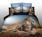 3D Steppe Lion Animal Bedding Duvet Set Bedsheet Pillowcase New Queen Size 4pcs