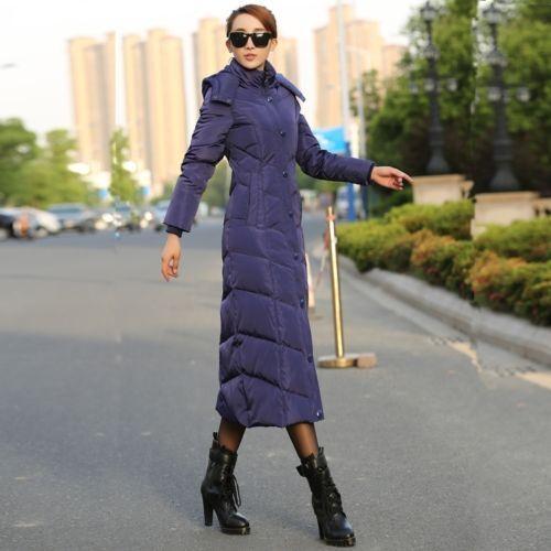 Womens Ladies Hooded Jackets Winter Warm Slim Slim Maxi Long Outwears Coats New