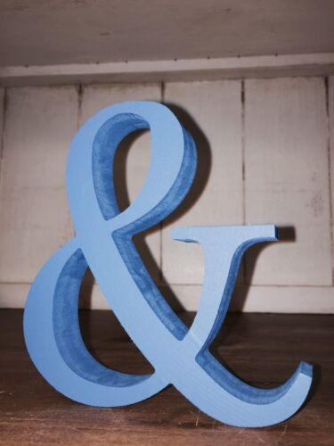 Bleu /& Bleu clair en bois /& signe esperluette 13 cm Grand /& bleu esperluette