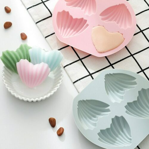 New 4 Holes Shell Shape Silicone Muffin Pan Cake Mold 3D Fondant Mold Cakes