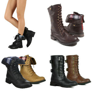Women-Boot-Winter-Combat-Boots-Ankle-to-Mid-Calf-Lug-Sole-Stacked-Heel-Military